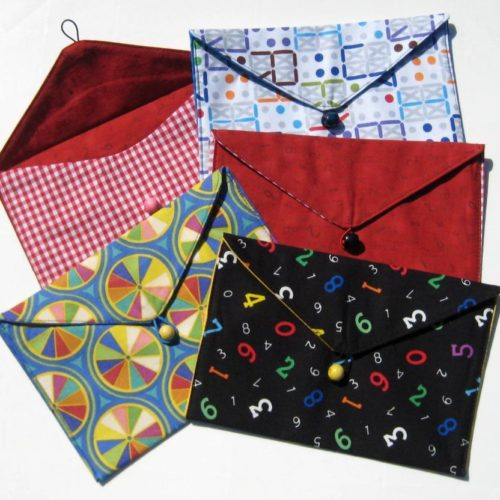 Fabric maths envelopes in a range of colours